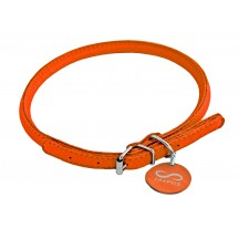 Collier & laisse en cuir rond Orange