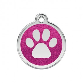 Médaille Patte Rose pailleté Chat - Red Dingo
